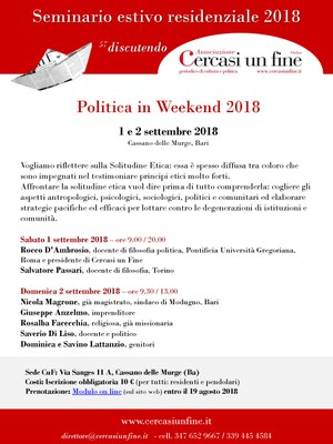Politica in weekend 2018 - La Solitudine Etica